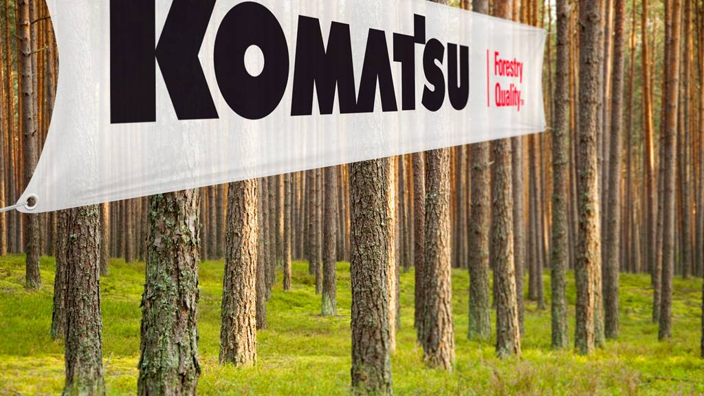 Large Komatsu flag in forest